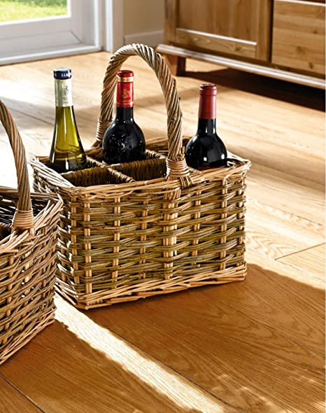 Cesto portabottiglie per 6 Bottiglie Rot Rosso Franz M/üller Flechtwaren