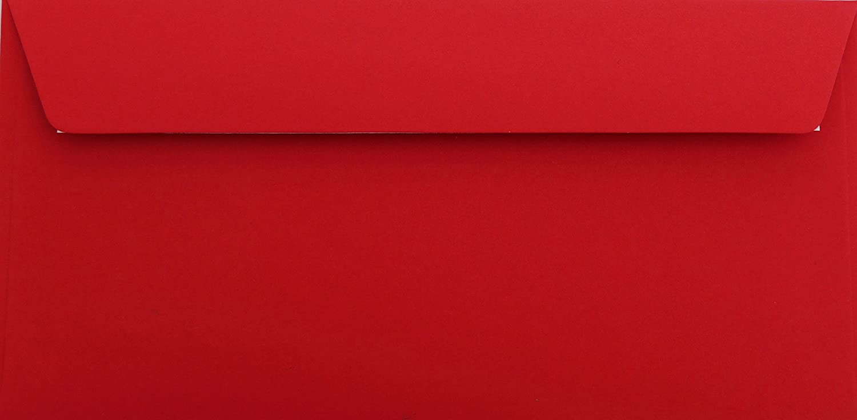 25 Buste Rose rosso DIN lungo 11 x 22 cm con strisce adesive, grammatura 120 G/M² Briefumschläge24Plus