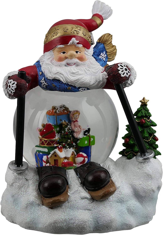 "Musicbox Kingdom Musicbox Kingdom-58108 Snow Skiing Santa"", Globe diam. 100 mm, Multi Color"