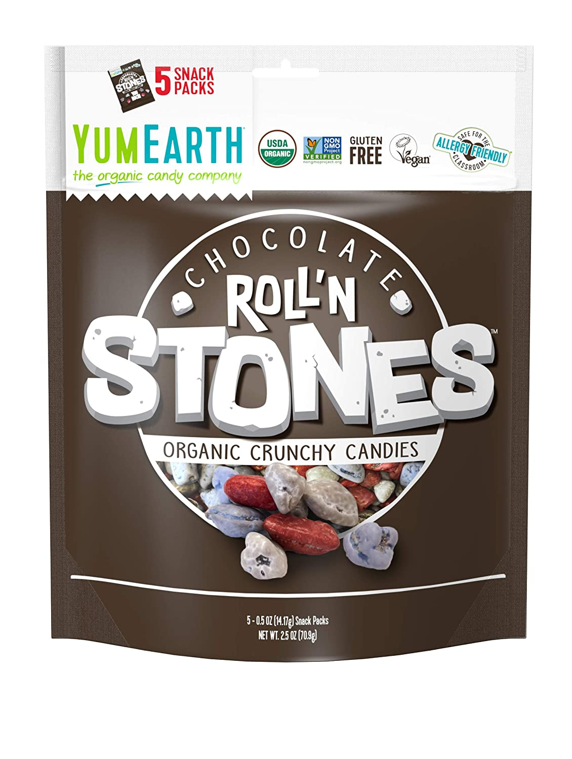 YumEarth Organic Vegan Chocolate Roll'n Stones, 5 Snack Packs per bag, (Pack of 12) - Allergy Friendly, Non GMO, Gluten Free : Grocery & Gourmet Food