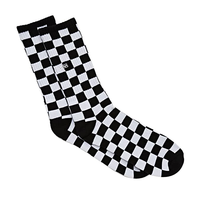 Vans Checkerboard Crew Socks One Size Black-white Check