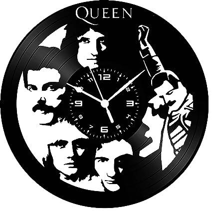 Reloj Sobre Disco de vinilo Queen Freddy Mercury hecha a mano