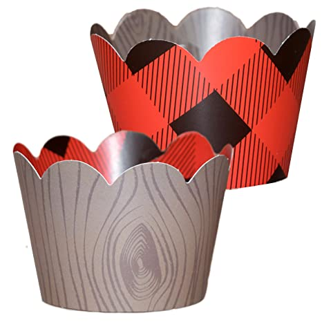 Lumberjack Party Supplies 36 Reversible Buffalo Plaid Cupcake Wrappers Woodgrain Cupcake Holders Wild One Birthday Decorations Woodland Party