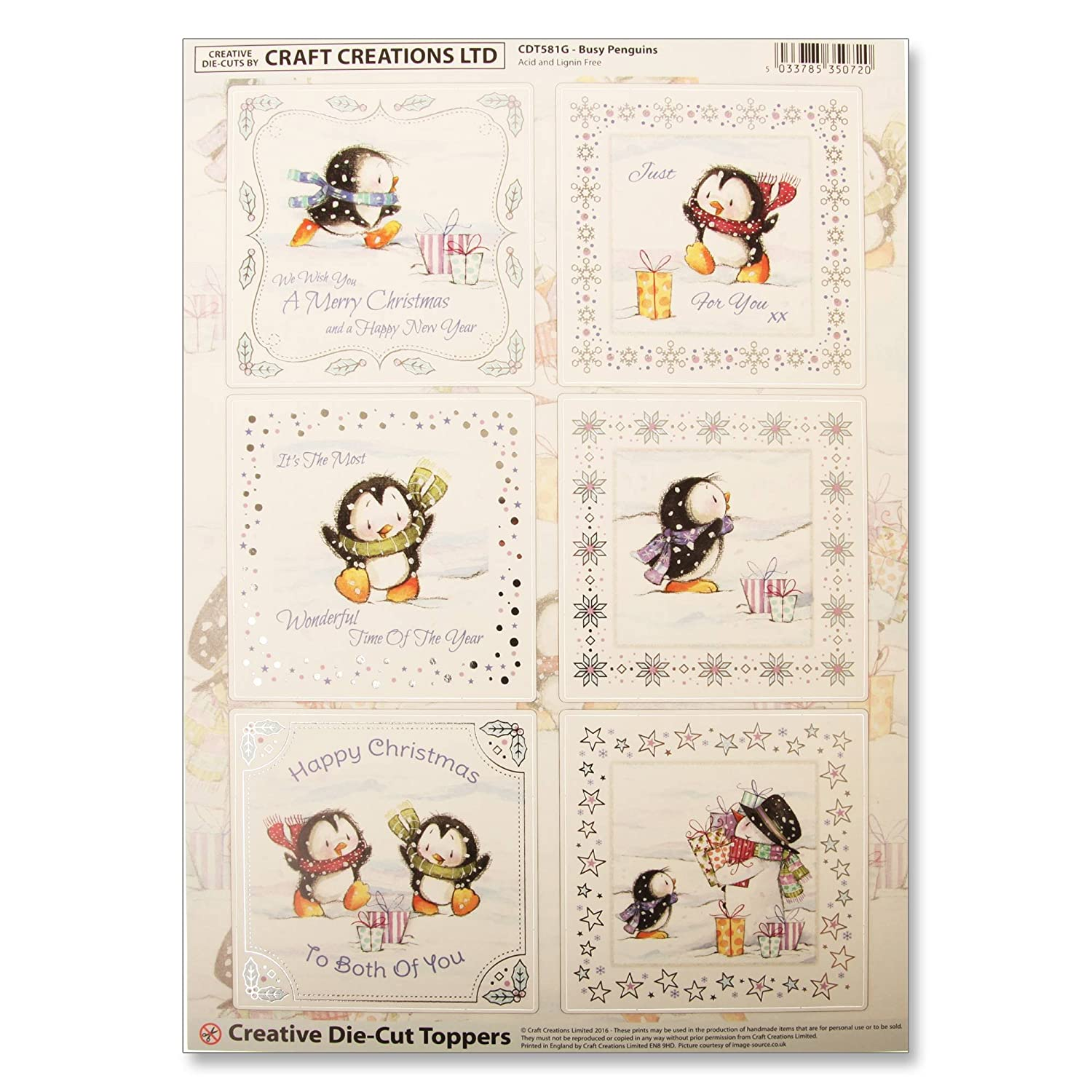 Craft Creations Christmas Creative Die-Cut Card Toppers - CDT581G Busy Penguins - Penguins Xmas Scarf - Silver Foil Borders - A4 210x297mm 250gsm 300mic Craft Creations Ltd