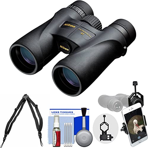 Nikon Monarch 5 10×42 ED ATB Waterproof Fogproof Binoculars with Case Harness Smartphone Adapter Cleaning Kit