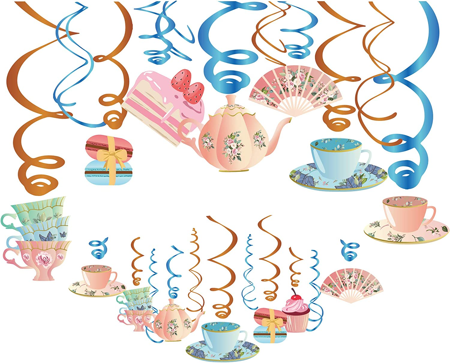 CC HOME Floral Tea Party Hanging Swirl Decorations 30ct,Garden Flower Blossom party Supplies,Teapots And Teacups Tea Party Decorations Bridal Shower Baby Shower Girls Birthday Ideas