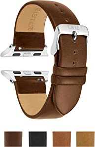 Compatible with Silver Apple Watch Band 38mm - Leather Apple Watch Band 38mm - Leather Apple Watch Band 42mm Men - Leather iwatch Band 38mm - 42mm Apple Watch Band (Walnut, 38mm/40mm)