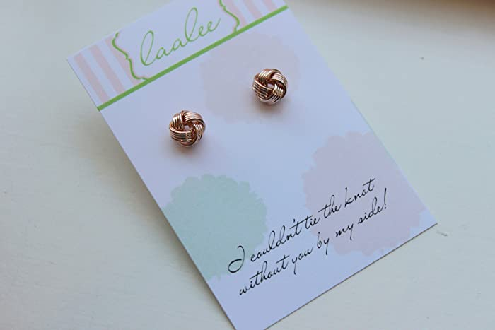 72ed210f2 Amazon.com: Rose Gold Knot Earrings Tie the Knot Jewelry Stud Earrings Post Earrings  Wedding Jewelry Love Knot Jewelry: Handmade