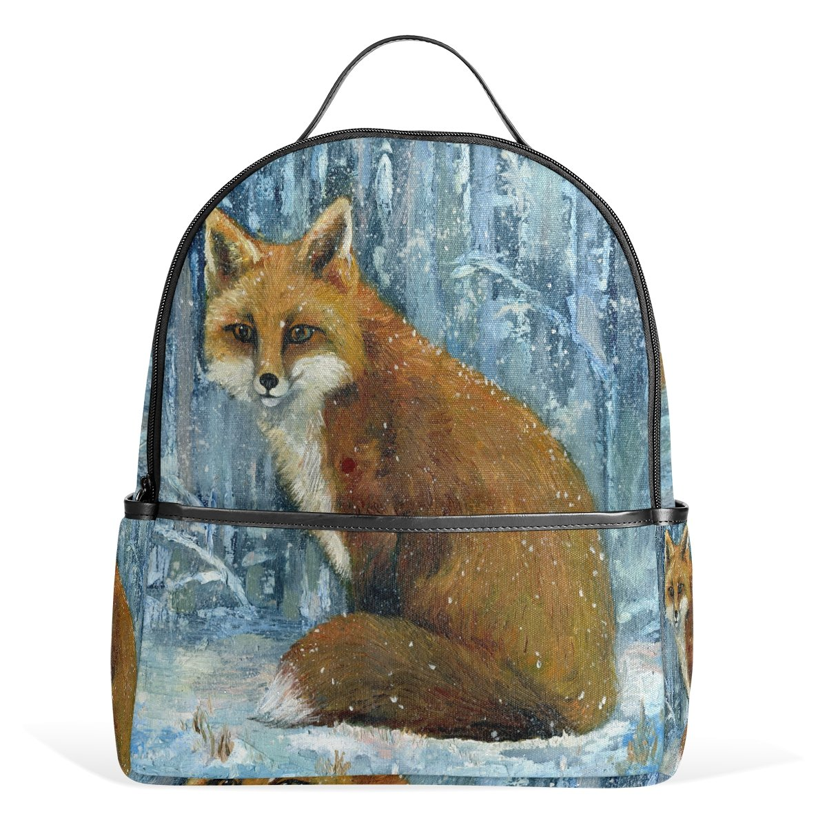 Use4 Winter Snow Fox Polyester Backpack School Travel Bag