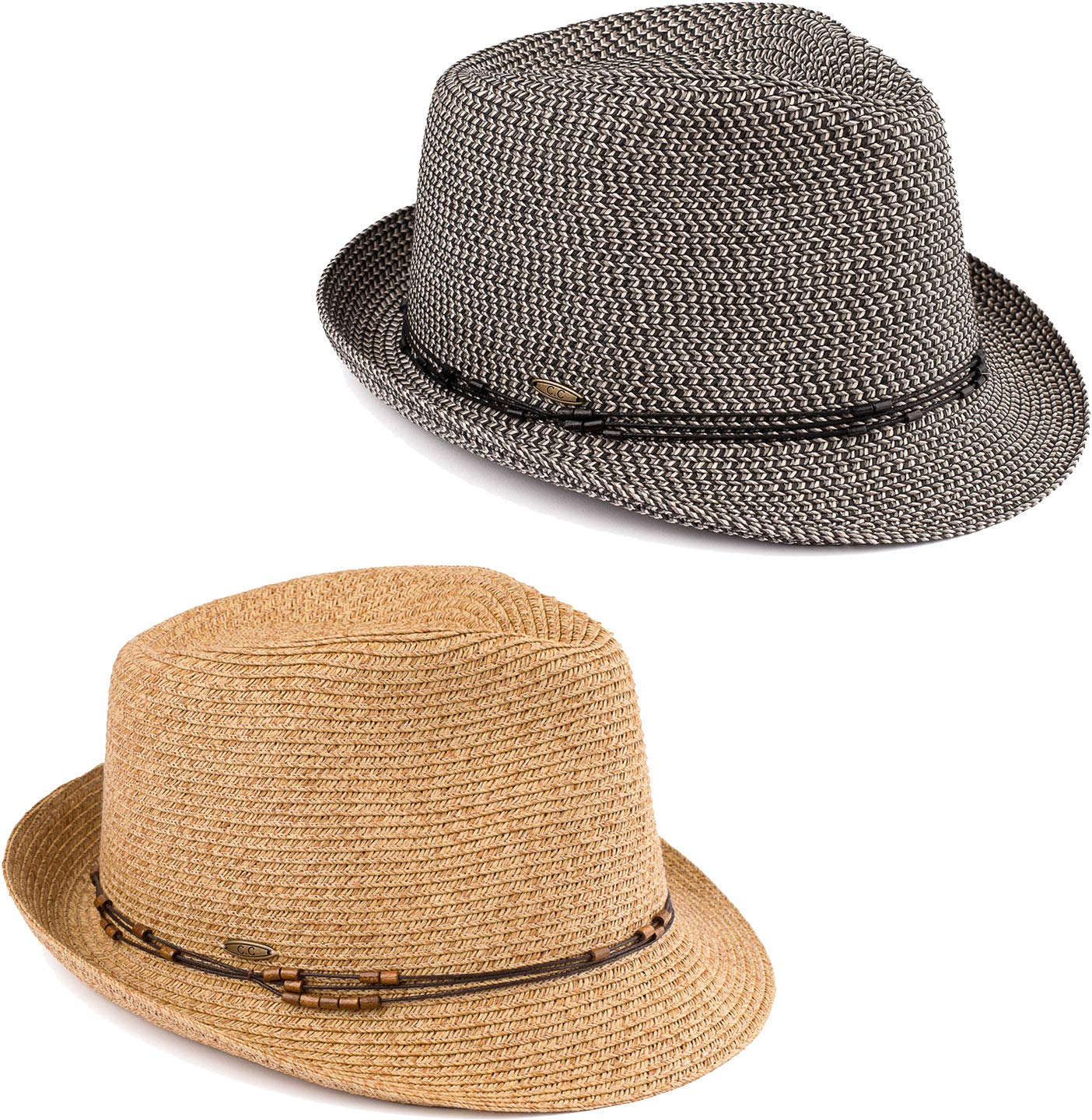 Funky Junque UPF50+ Adjustable Multicolor Woven Pattern Short Brim Fedora Hat (2 Pack - Black & Natural Multi w/Beaded Ropes) by Funky Junque