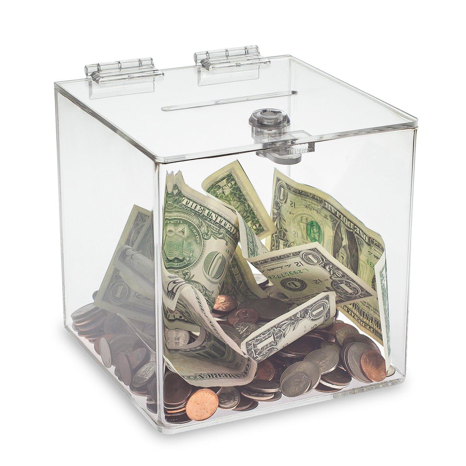Source One Clear Cube Donation Box With Cam Lock Suggestion Registration Raffle Bin (Medium 8 Inch)