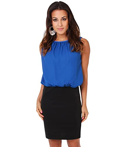KRISP Women's Fashion Summer Office Chiffon Mini Pencil Bodycon Sleeveless Dress Sleeveless US 4-16