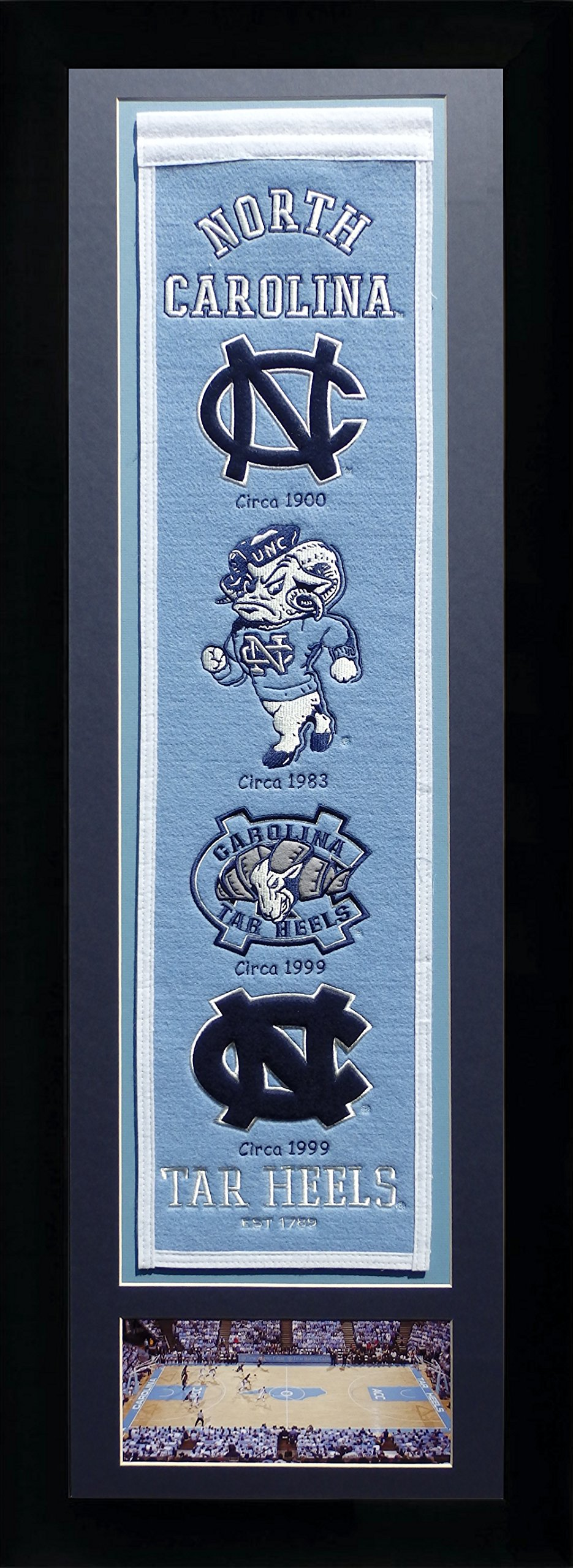 Legends Never Die NCAA North Carolina Tar Heels Team Heritage Banner with Photo, Team Colors, 15'' x 42'' by Legends Never Die