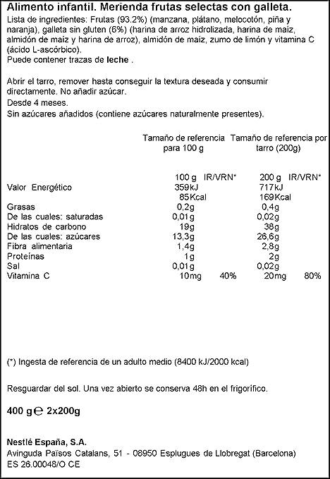 Nestlé Naturnes - Merienda Frutas Selectas con Galleta - A partir de 4 meses - 2 x 200 g: Amazon.es: Alimentación y bebidas