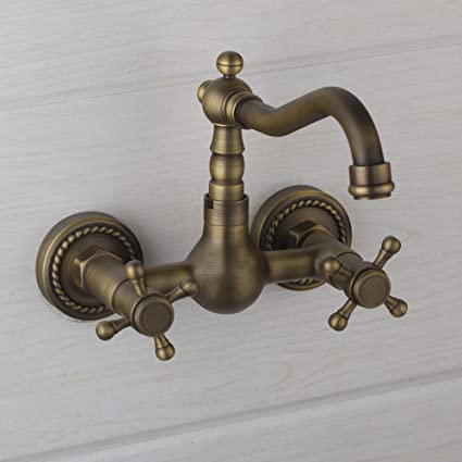 Yanksmart Antique Brass Wall Mounted Bathroom Mixer Tap Bathtub