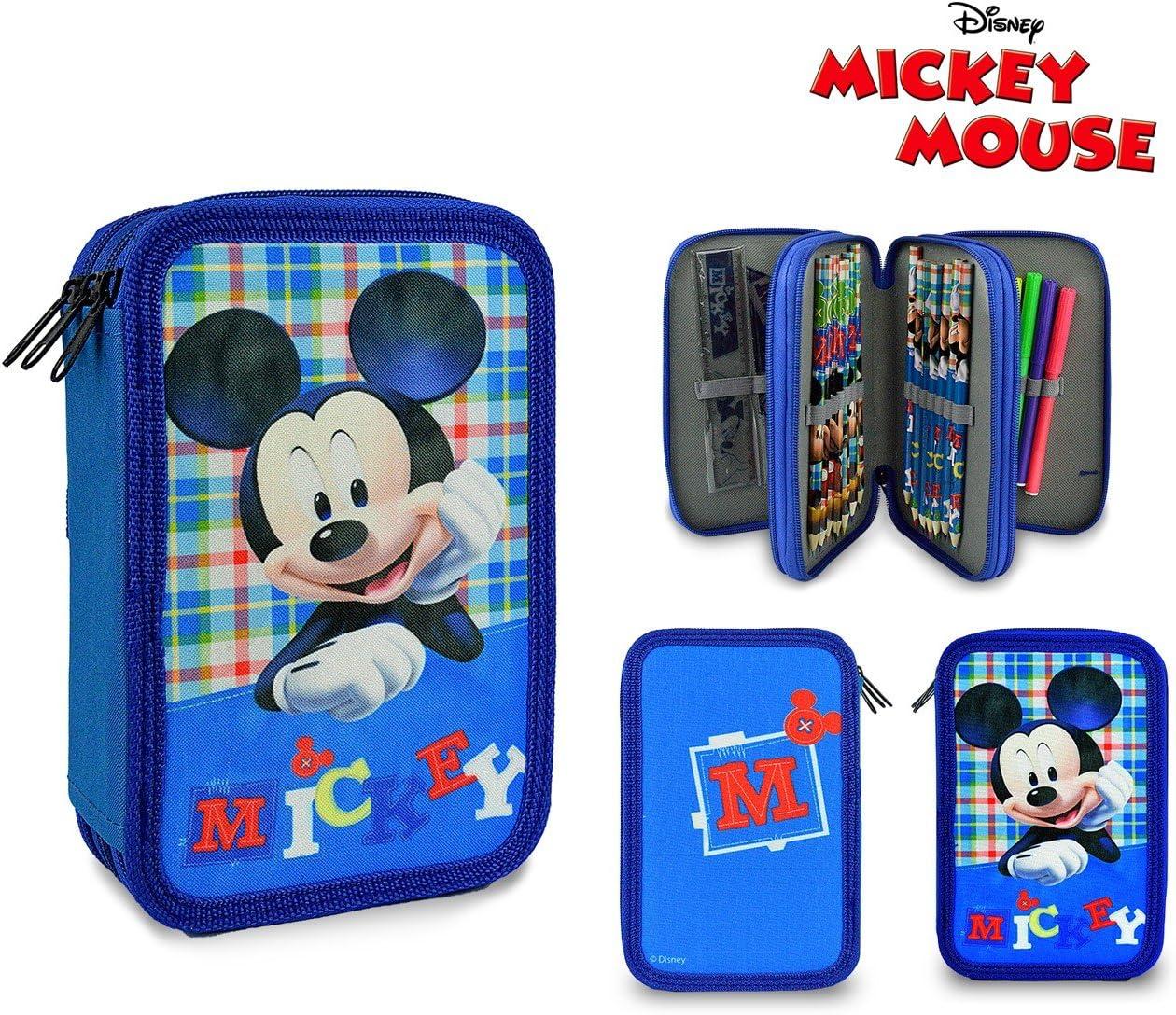 Mickey Mouse 686947 Estuche Porta lápizes 3 apartados completos con Accesorios: Amazon.es: Juguetes y juegos