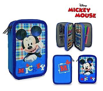 Mickey Mouse 686947 Estuche Porta lápizes 3 apartados completos con Accesorios