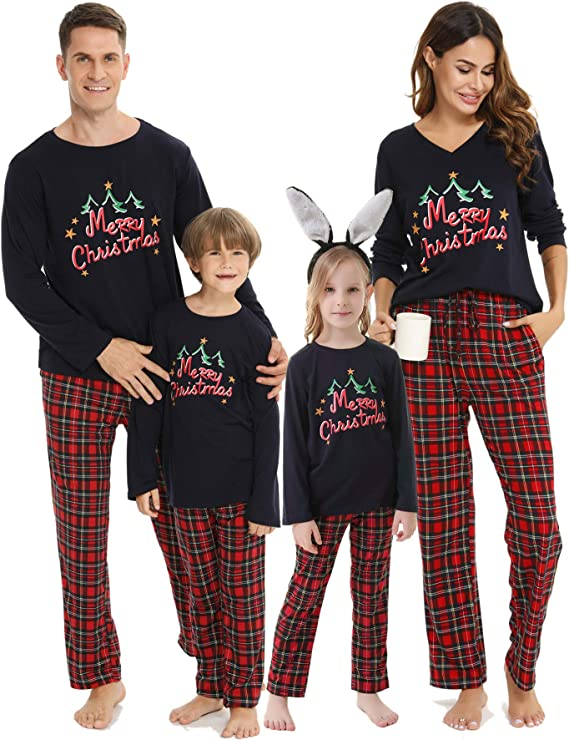 Vlazom Pijamas de Navidad Familia Ropa de Dormir Top de Manga ...
