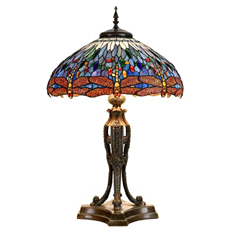 Bieye L10646 22 Inches Dragonfly Tiffany Style Table Lamp With Brass