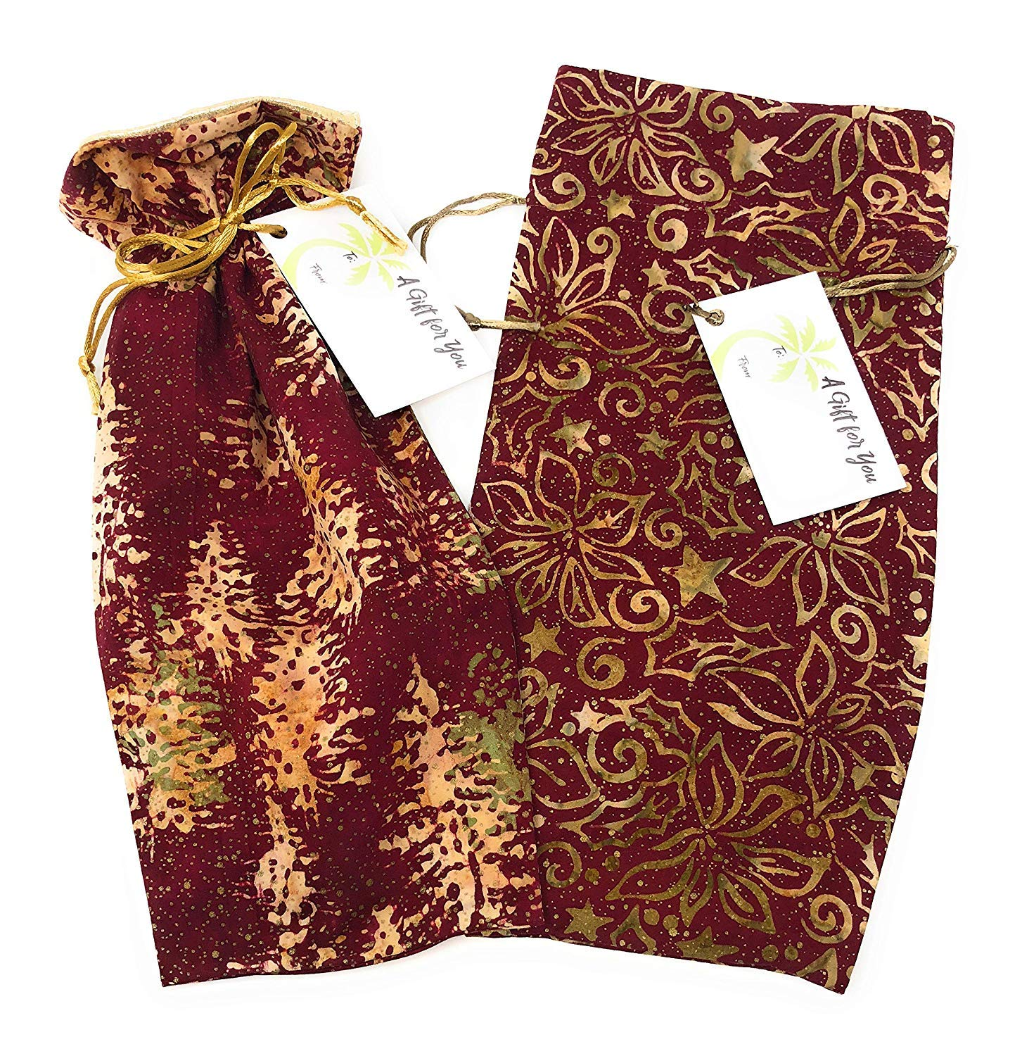 """Medium 13.25/""""x6 Eco-Friendly Alternative to Paper Giftwrap for Wine Bottle 2-Pack Bali Holiday Fabric- Reusable Drawstring Gift Bag Christmas Fully-Lined Lam/é Cotton Cloth Winter Holidays"""