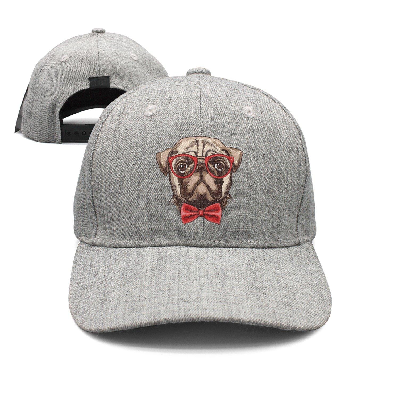 Cute Pug Dog with Glass Red Bow Woolen Peak Cap Snapback Hat Visor Hats Grey