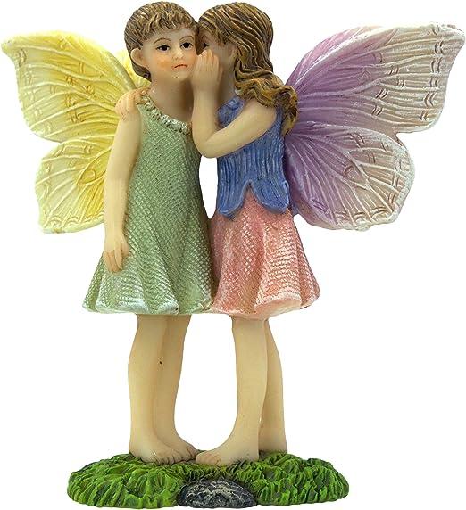 PRETMANNS Hadas Jardín Hadas - Figuritas de hadas - 2 encantadoras hadas de pie - Compartir secretos - Suministros de jardín de hadas 1 pieza: Amazon.es: Jardín
