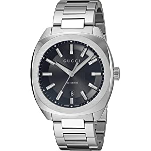 Gucci Swiss Quartz Stainless Steel Dress Silver-Toned Mens Watch(Model: YA142401)