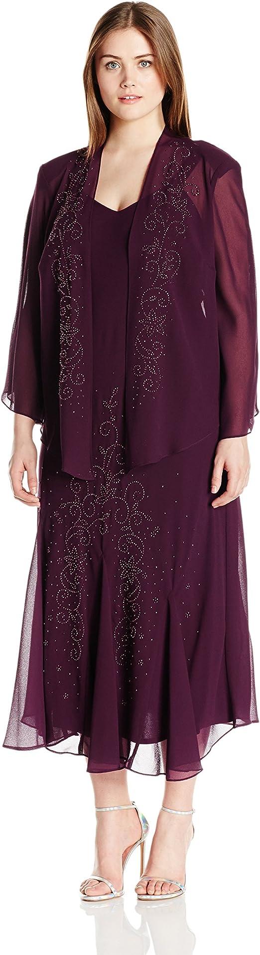 Women's Plus Size Beaded Chiffon Jacket Dress