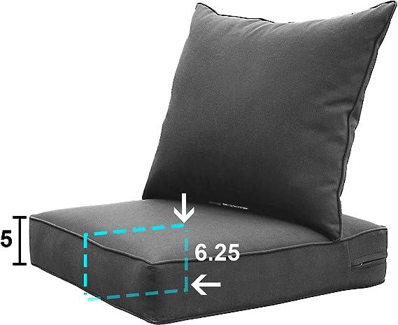 Amazon Com Sewker Outdoor Chair Cushion 24x24 Deep Seat Patio Furniture Replacement Cushions Set Modern Grey Garden Outdoor