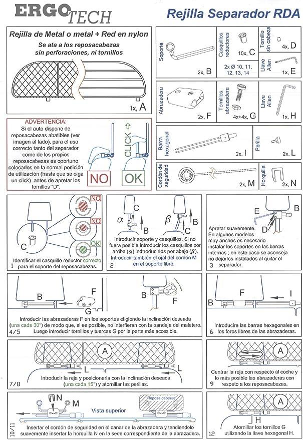 ERGOTECH Rejilla Separador protección RDA65HBG-XXL, para Perros y ...