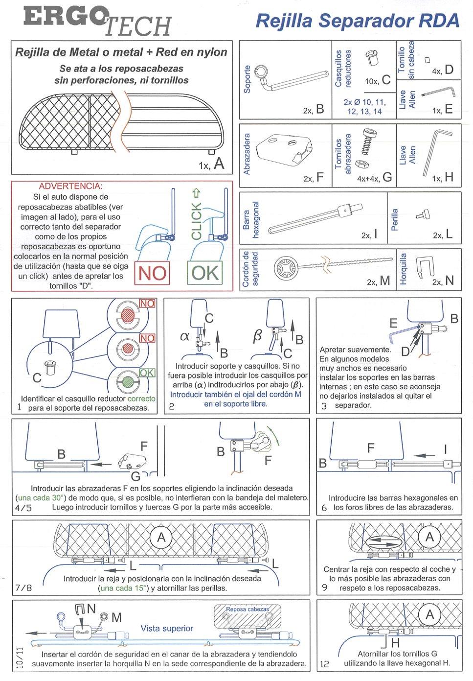 Segura garantizada! Rejilla Separador protecci/ón Ergotech RDA65-S8 kvw030es confortable para tu perro para perros y maletas