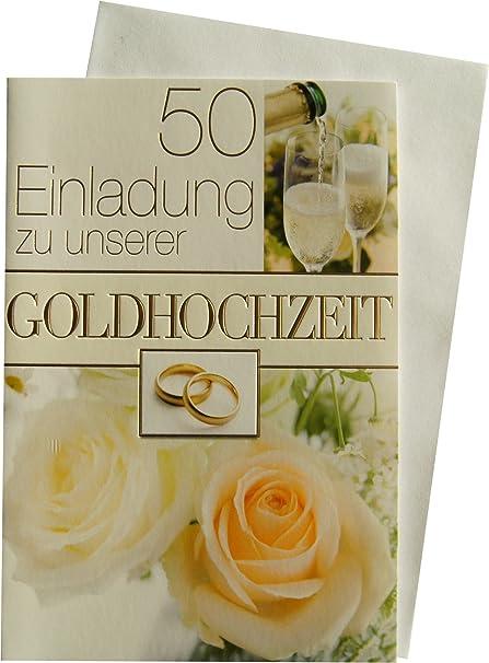 5 Einladungskarten Klappkarten Goldene Hochzeit Mit