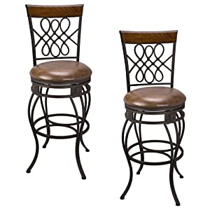 """Kira Home Monarch I 30"""" Swivel Bar Stool, Brown Leatherette Seat Cushion, Scroll Backrest with Real Wood Accent, Old Steel Finish, Set of 2"""