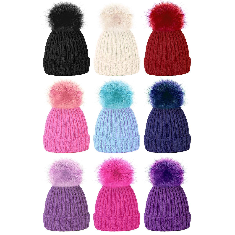 869c114a7 TOSKATOK Girls Faux Fur Pom Pom Beanie Hat