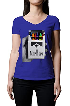 099b5b12 Marlboro Cigarettes Crayon Pack Women's V-Neck T-Shirt XX-Large ...