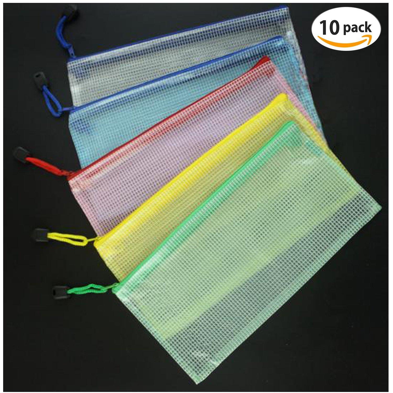 Dokumententasche - TANGGER 10 Stück Reißverschlusstasche Kunststoff Ordnungsmappe Zip-Datei Beutel Mesh Dokumententasche mit Reißverschluss für Büros Schulreise Kosmetik Zubehör(5 Stück A5 und 5 Stück A4)