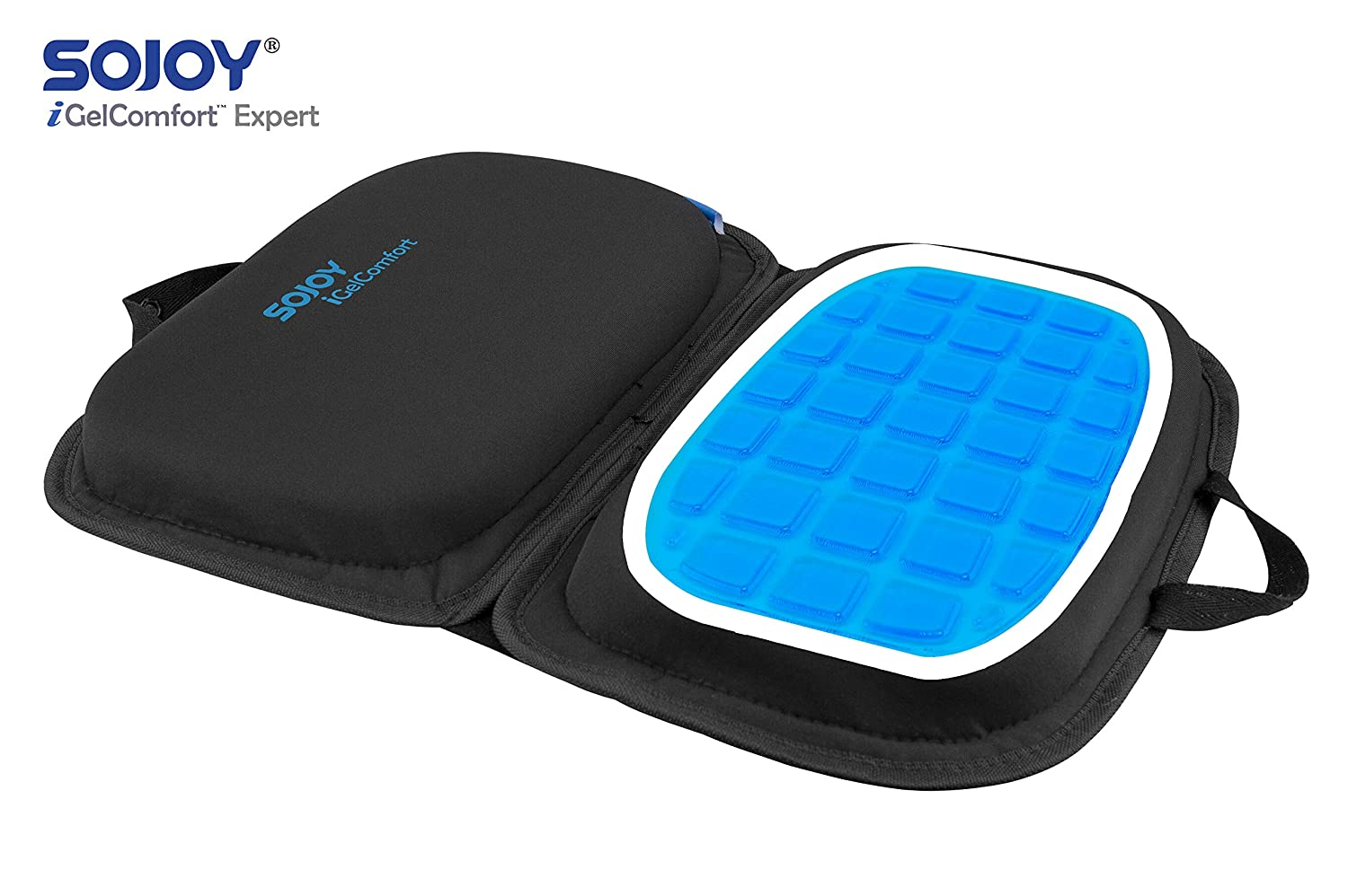 "Sojoy iGelComfort 3 in 1 Foldable Gel Seat Cushion Featured with Memory Foam (A Must-Have Travel Cushion! Smart, Easy Travel Cushion) (Size: 18.5"" x 15"" x 2"")"