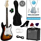 Stretton Payne ST Style Electric Guitar Package with Amplifier, Padded Bag, Strap, Lead, Plectrums, Tuner, Spare Strings and Online Guitar Lessons. Guitar in Sunburst