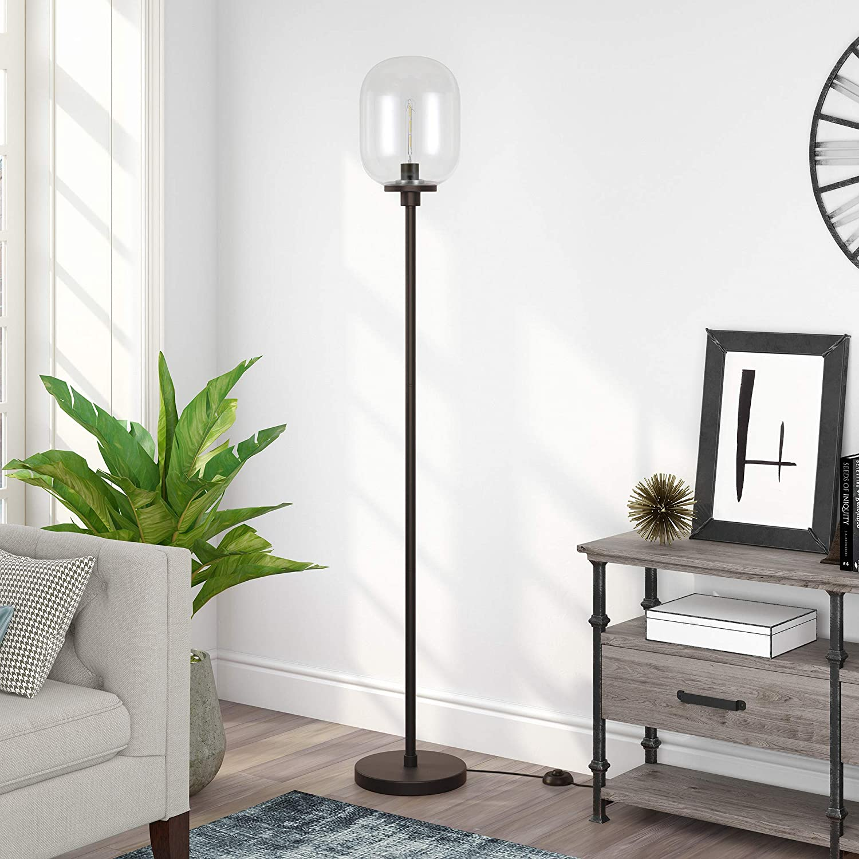 Henn&Hart FL0187 Industrial Modern Standing Floor Lamp for Living Room, Bedroom, Office, Black/Clear Glass