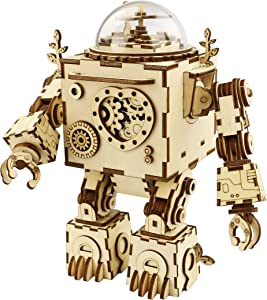 RoWood Steam Punk Music Box 3D Wooden Puzzle Craft Toy, Best Gift for Adults, Age 14+, Robot DIY Model Building Kits - Orpheus (with LED Light)