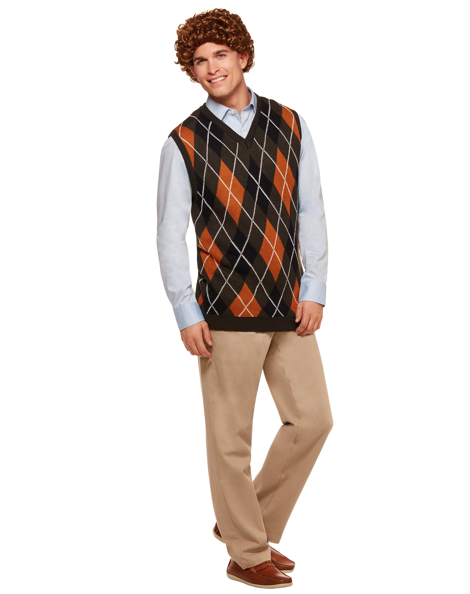 Spirit Halloween Brennan Sweater Vest and Wig - Step Brothers