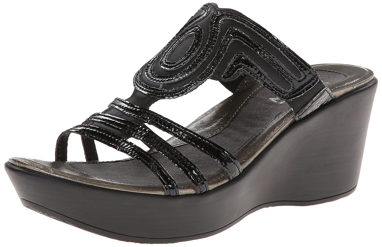 NAOT Women's Enchant Wedge Sandal B005EDC4DO 41 EU/9.5 - 10 M US|Black Raven Leather/Black Crinkle Patent