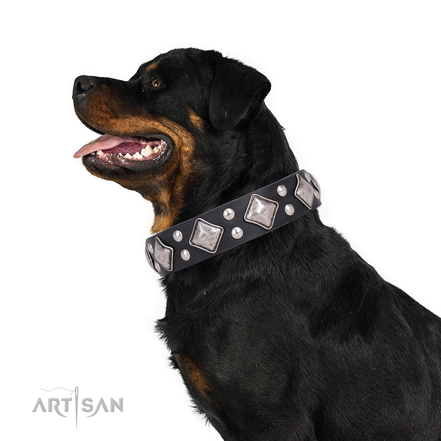 Fits for 36 inch (90cm) dog's neck size FDT Artisan 36 inch Black Leather Dog Collar with Fake Silver Decor Smart Geometry 1 1 2 inch (40 mm) Wide