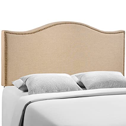 Modway Curl Upholstered Linen Headboard Queen Size With Nailhead Trim And Curved Shape In Cafe