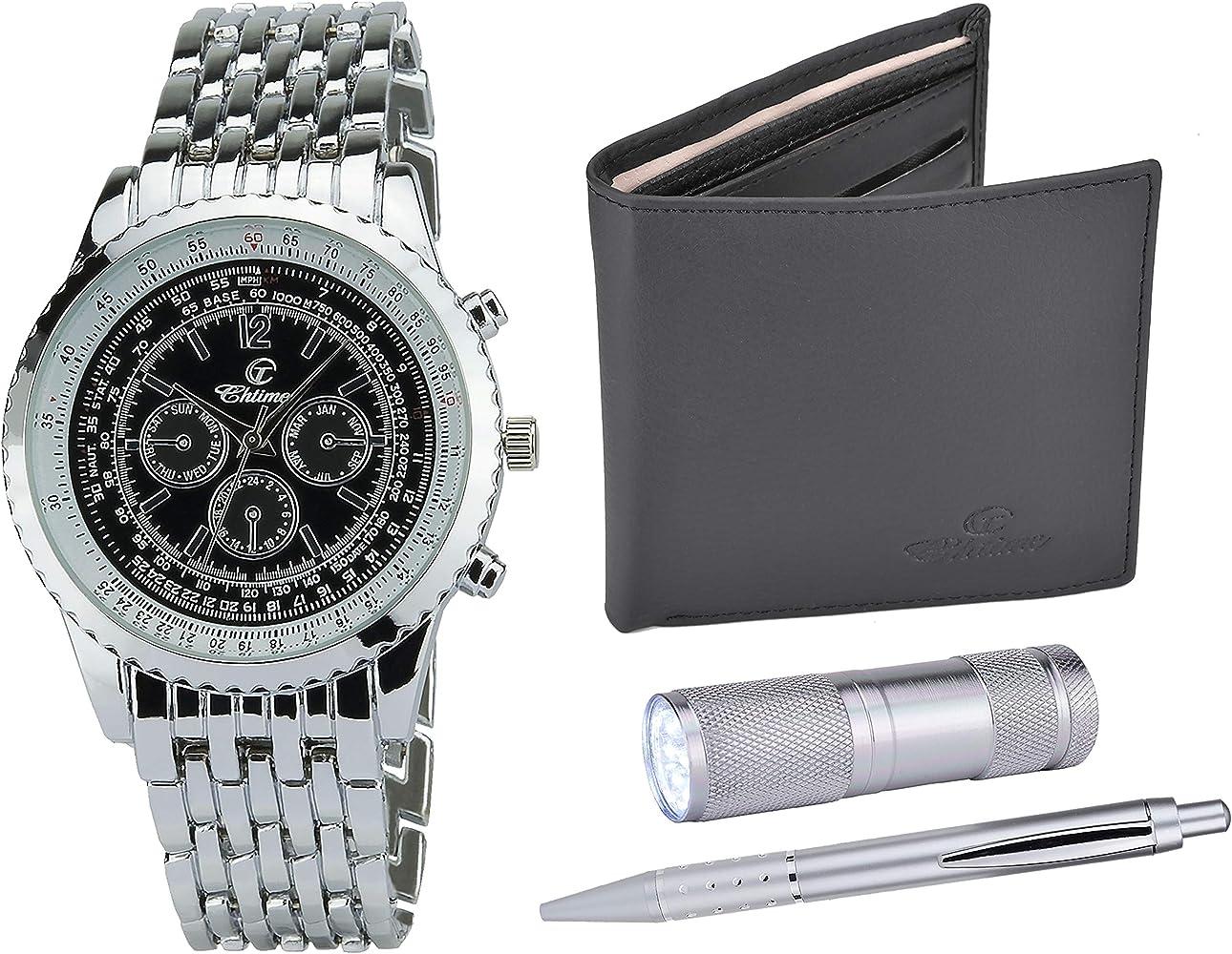 Caja de Regalo Reloj Hombre Negro- Lámpara LED - Billetera -Bolígrafo: Amazon.es: Relojes