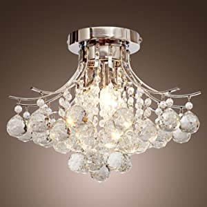 LOCO® Chrome Finish Crystal Chandelier With 3 Lights, Mini Style Flush  Mount Ceiling Light