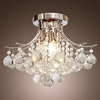 LOCOR Chrome Finish Crystal Chandelier With 3 Lights Mini Style Flush Mount Ceiling Light