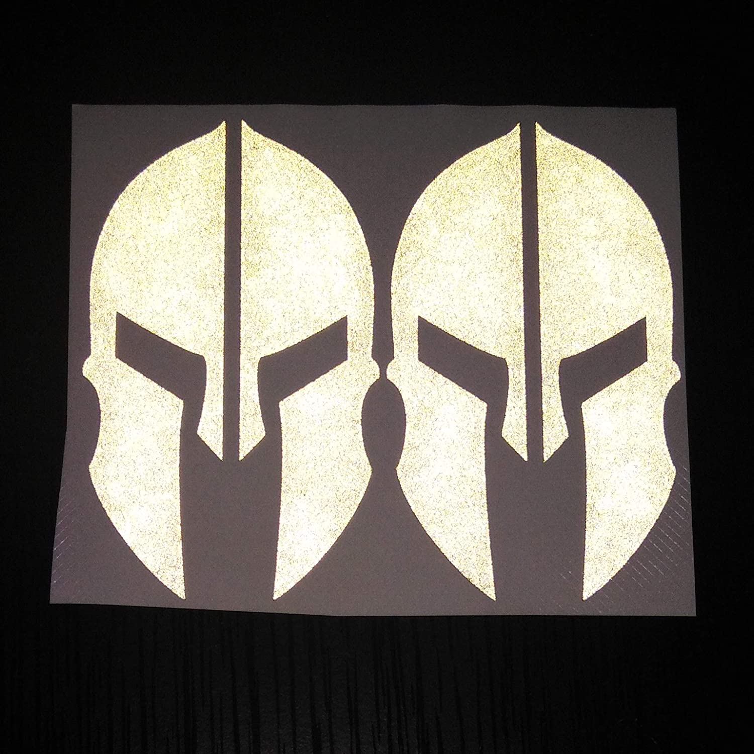 2x Black Spartan Warriors Hero Chivalry Ancient Greek Reflects White Reflective Decal Decals Vinyl Sticker Safety Night Rear for Motorcycle Bike Bicycle Car Helmet Tailgate Laptop Notebook Tablet