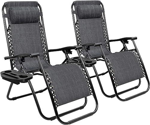 Tuoze Zero Gravity Chairs Adjustable Outdoor Folding Lounge Patio Chairs