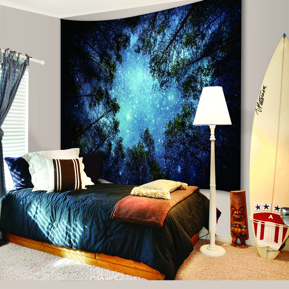 Sublime Forest Nature View Mysterious Blue Hanging Artistic Home D/écor 80L X 60W Inches HY Home Celestial Galaxy Night Sky Full of Stars Wall Tapestry